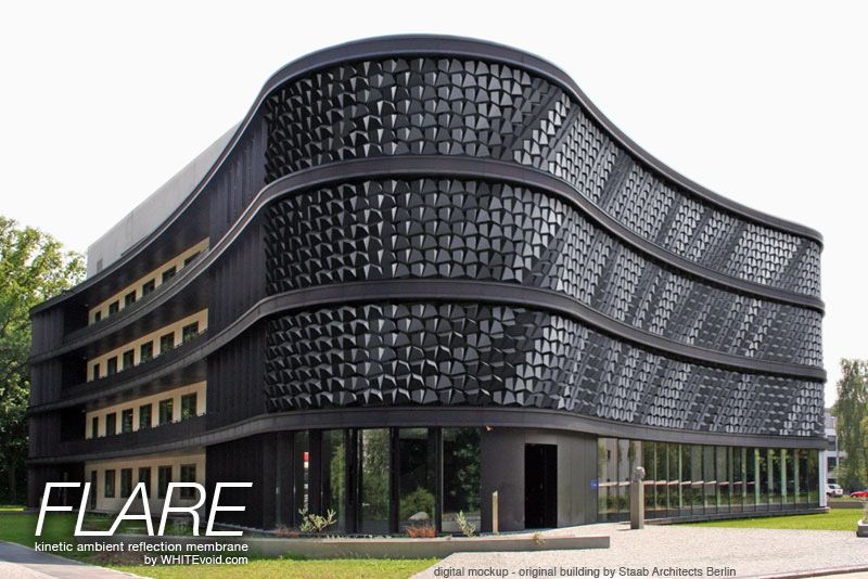 FLARE is a modular system to create a dynamic hull for facades or any building or wall surface. Acting like a living skin, it allows a building to express, communicate and interact with its environment.
