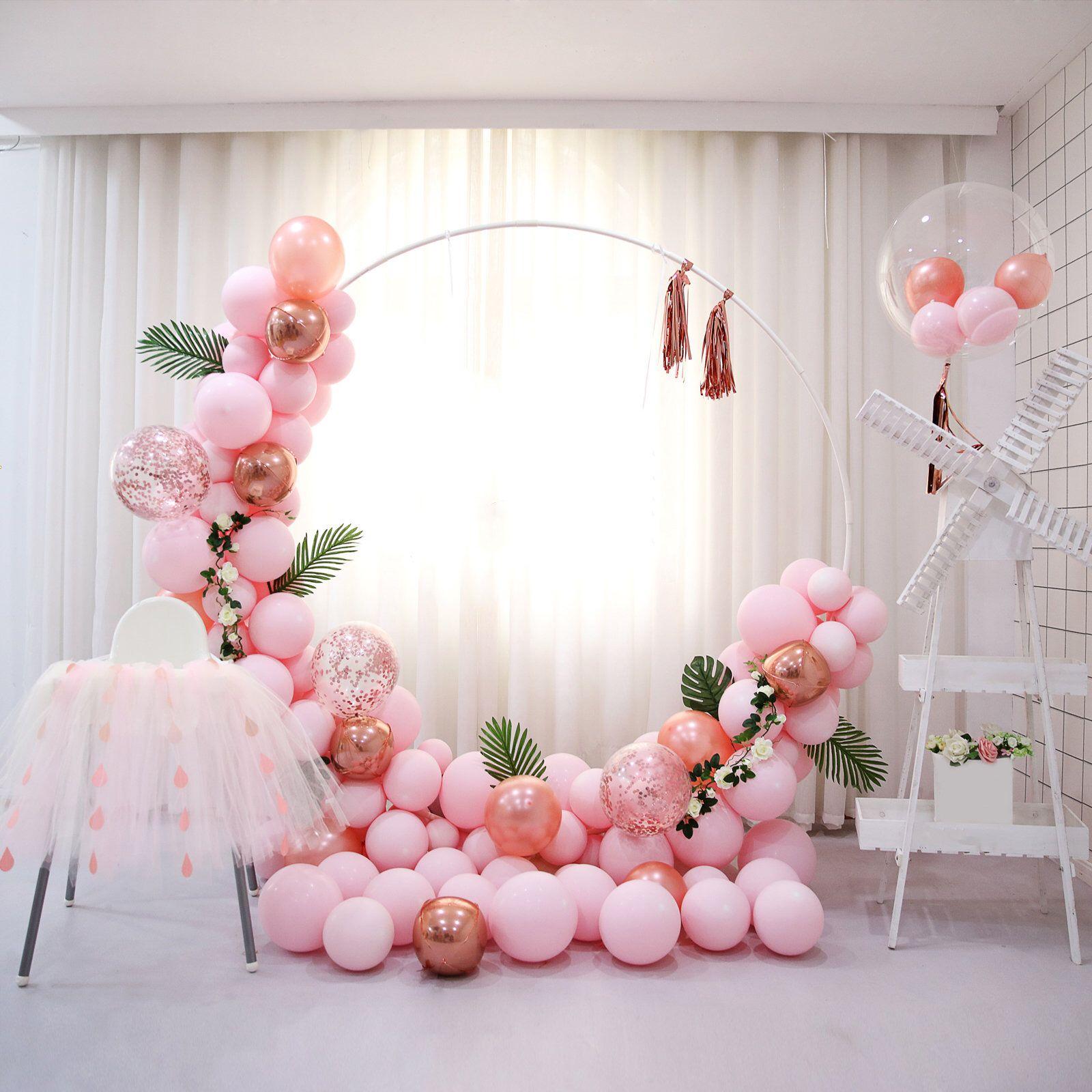 5ft Diameter Metal Circle with Stand Balloon Garland Hoop Kit Pastel Pink Latex Rose Gold Balloons Leaves Tassel Wedding Birthday Decoration