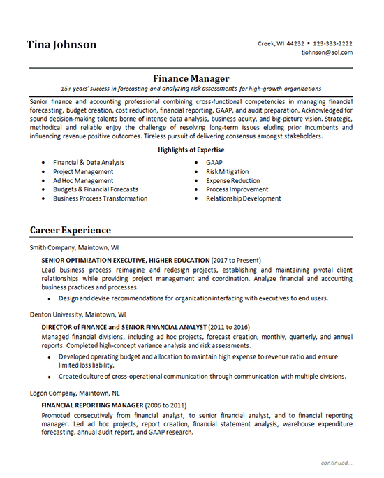 Senior Finance Manager Resume Examples Finance Financial Statement Analysis