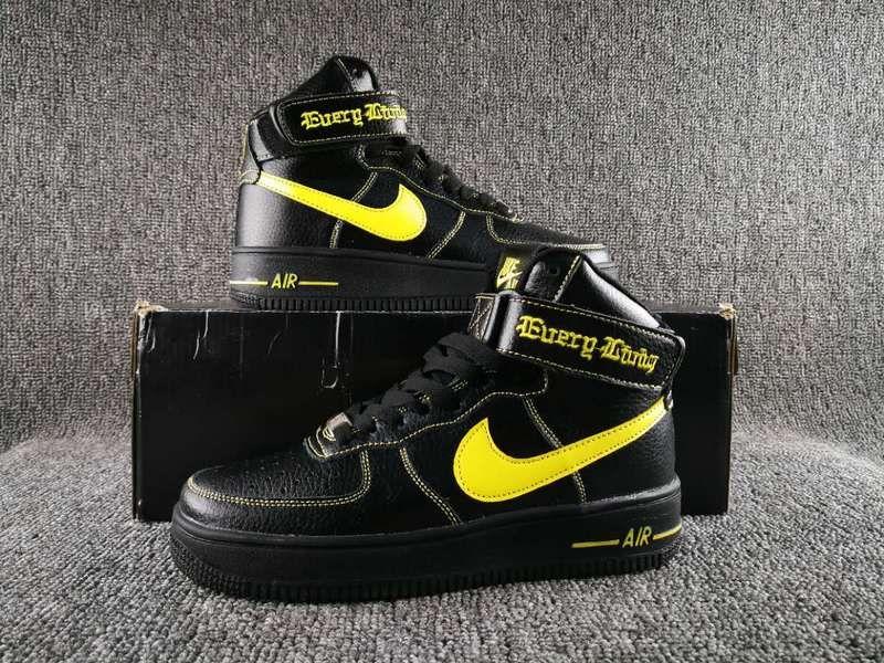 black yellow nike air force 1 high