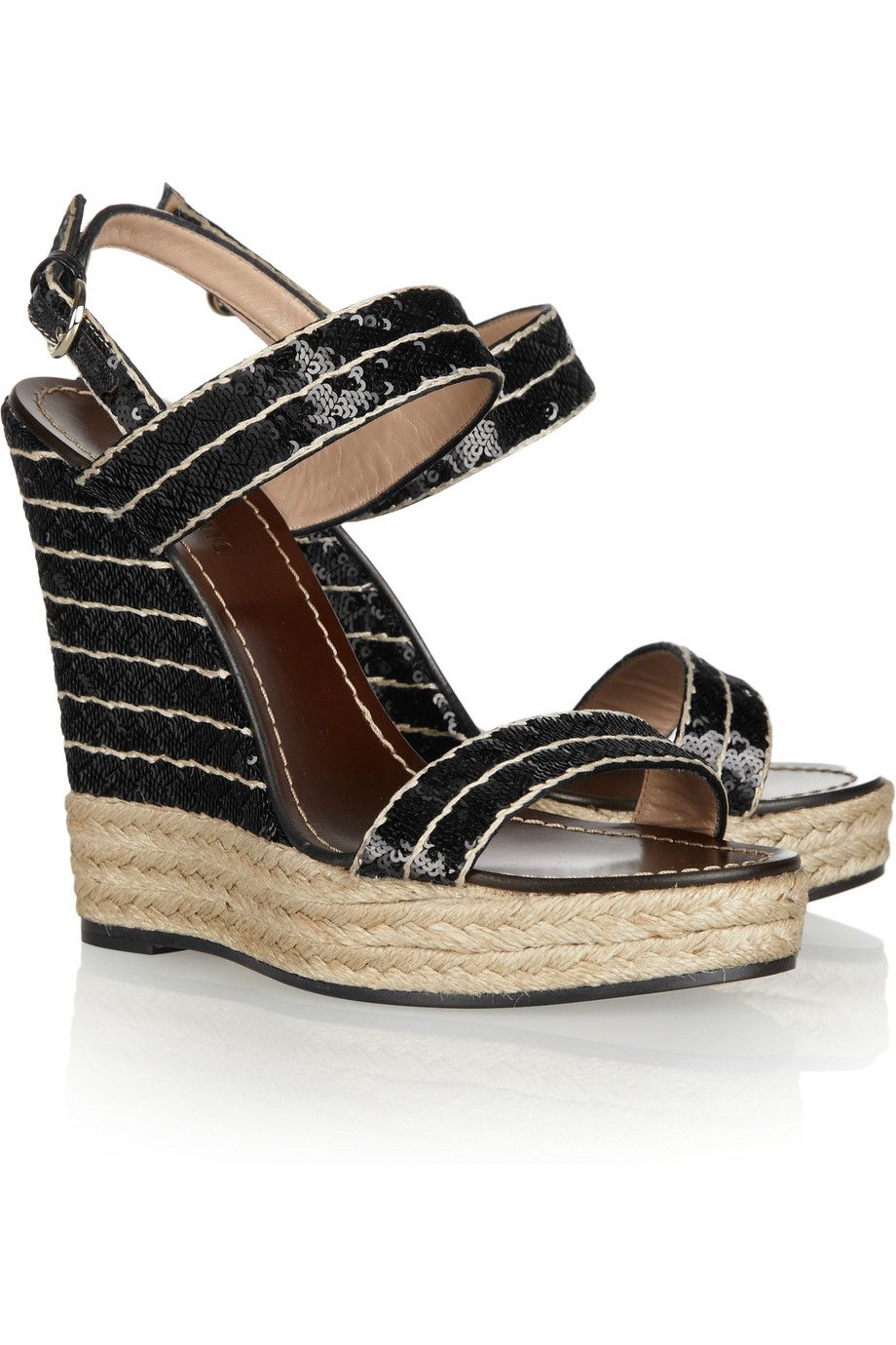 81032333fcd Sequined espadrille wedge sandals by Valentino