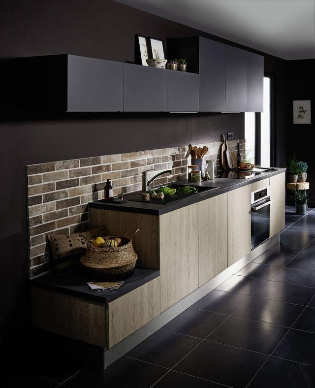Idée relooking cuisine Cuisine ouverte Twist finition bois chêne - deco maison cuisine ouverte