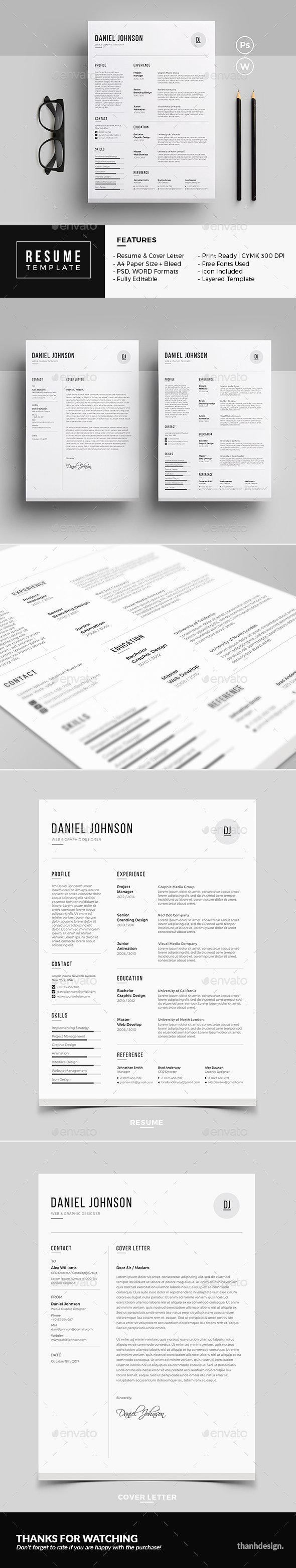 Resume Template PSD, MS Word Resume, Resume templates