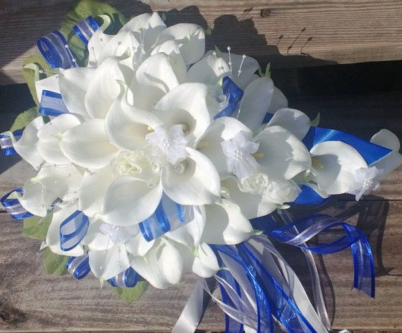Cascading Bouquet White Calla Lily Cascading by SilkFlowersByJean, $199.00