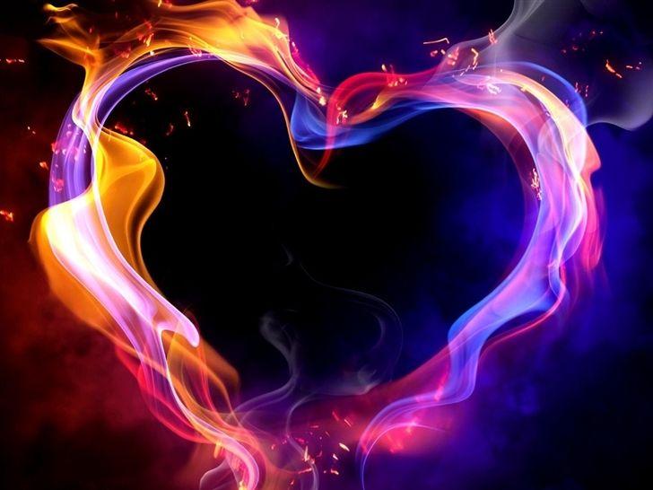 Purple And Blue Flame Heart