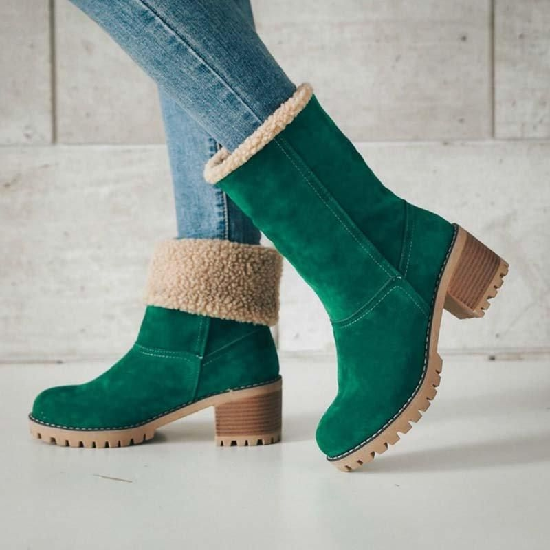 da8dd03bc48 Women Warm Square Heels Ankle Snow Boots in 2019 | Fashion Shoes ...
