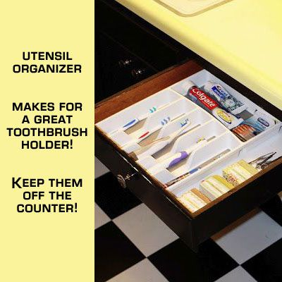 Keep your bathroom organized with a silverware holder. No more toothpaste in drawers or dust on toothbrushes.