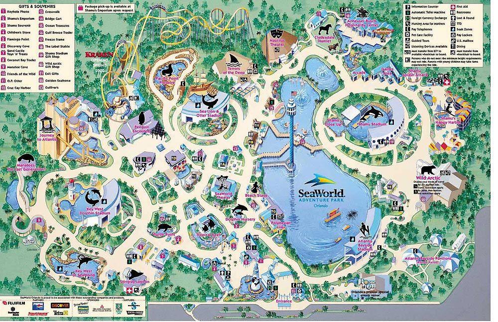 Seaworld Orlando Florida Theme Parks Com Theme Park Map Seaworld Orlando Orlando Map