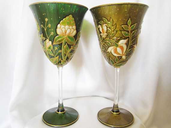 Green Harmony Wild Flowers Hand Painted Wedding Wine by VioMar, £180.00