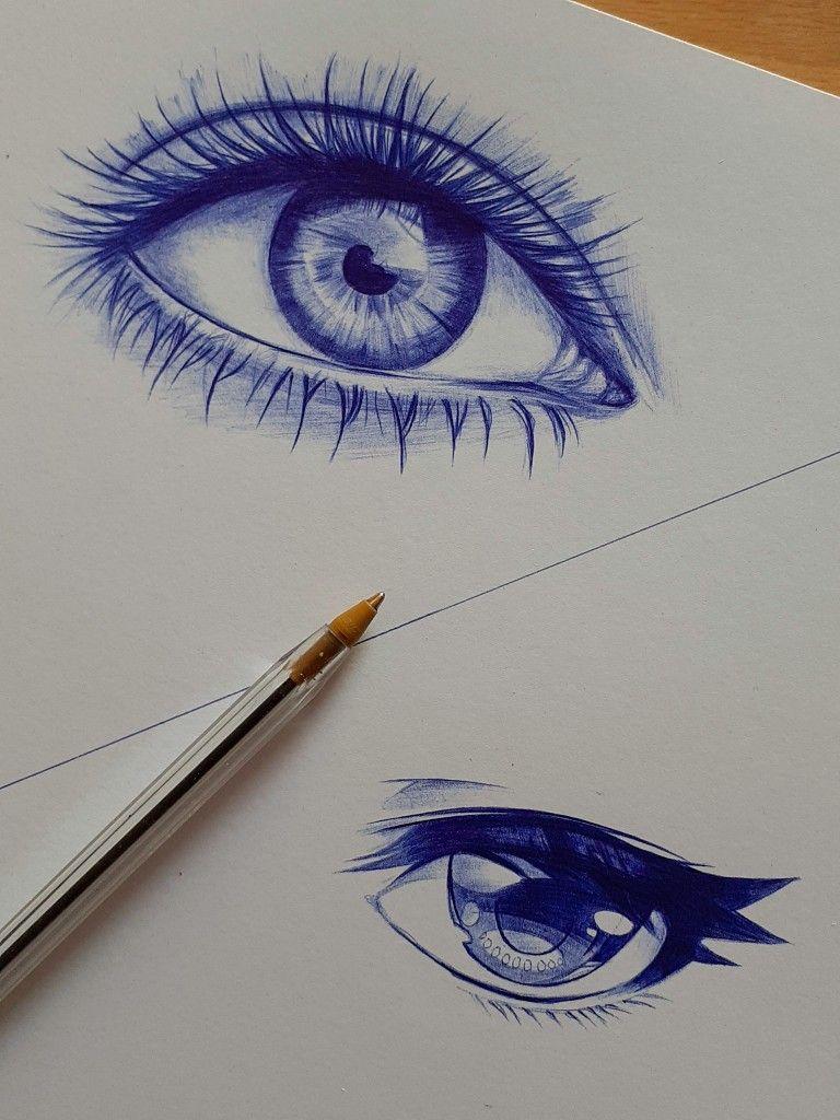 Anime Eye Vs Realistic Eye Ball Point Pen Challenge Anime Eyes