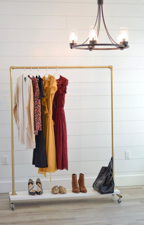 Standard Gold Rolling Rack Clothing Rack Bedroom Rolling Rack