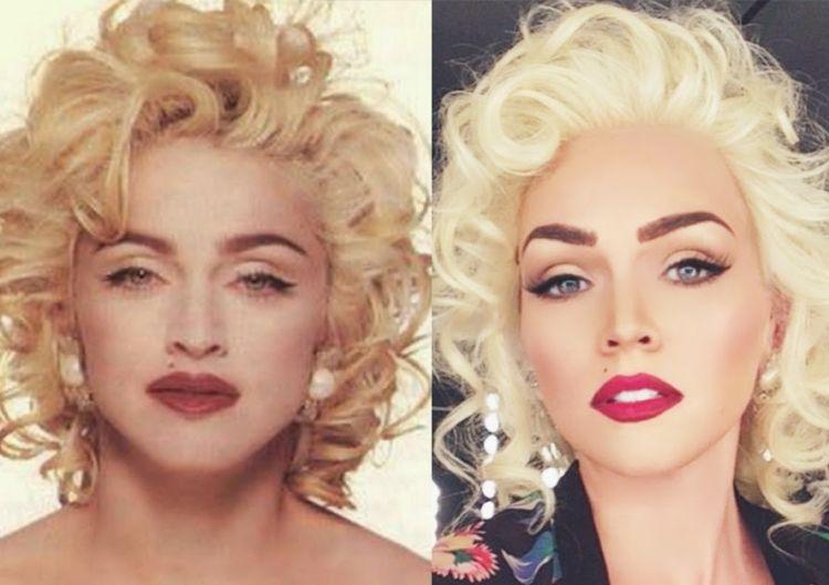 80er Frisuren Blond Locken Clips Ohrringe Eyeliner Lippenstift Madonna 80er Frisuren Neue Frisuren 90er Frisuren