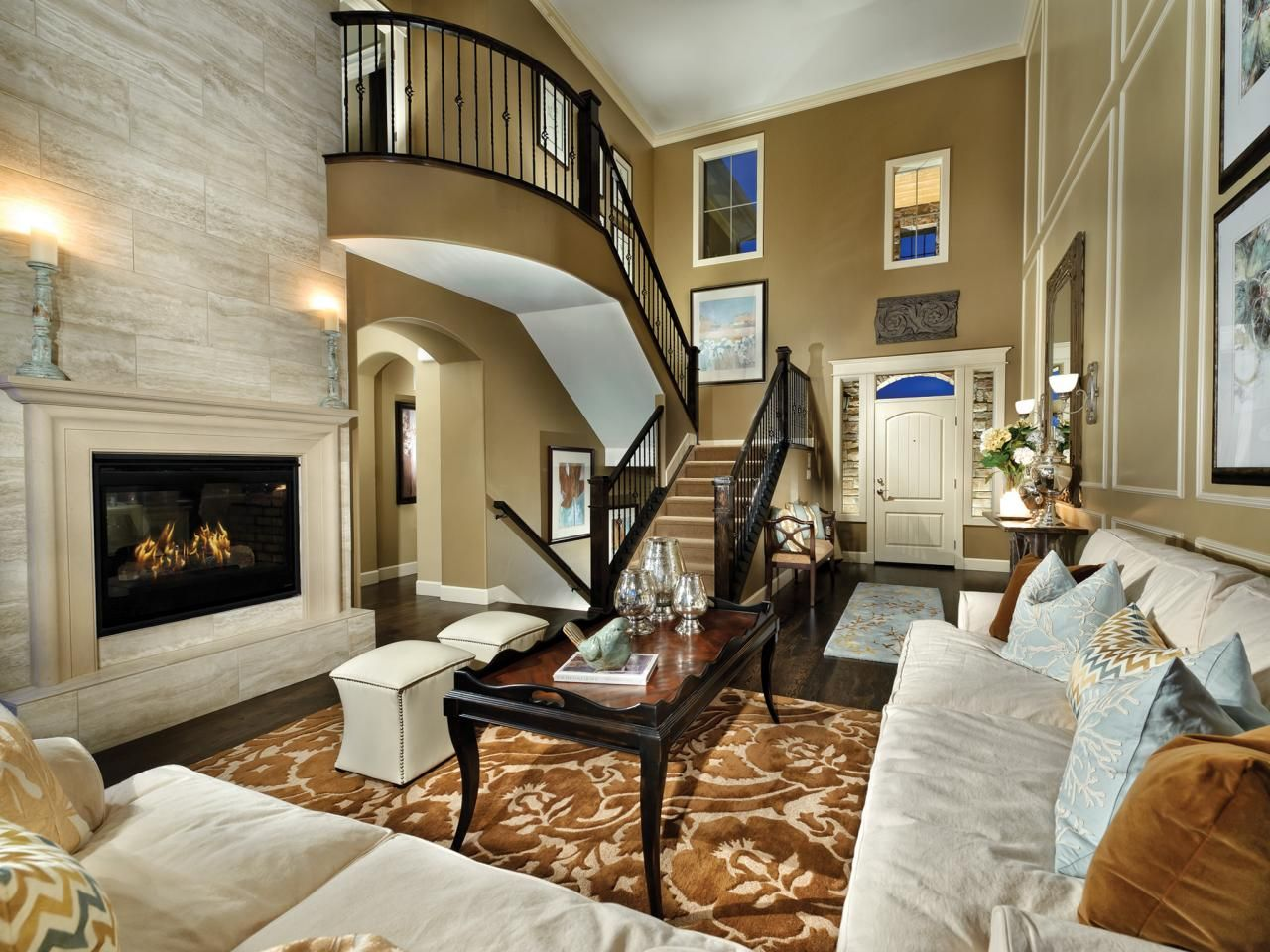 An Oversized Brownandwhite Floralpatterned Area Rug Pulls The Extraordinary Design Ideas For Living Rooms With Fireplace Review