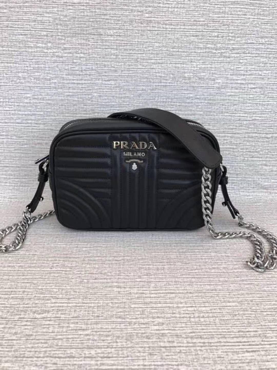 77c13ecb72241c Genuine Prada Diagramme Leather Shoulder Bag Black #blackleatherpursesonsale