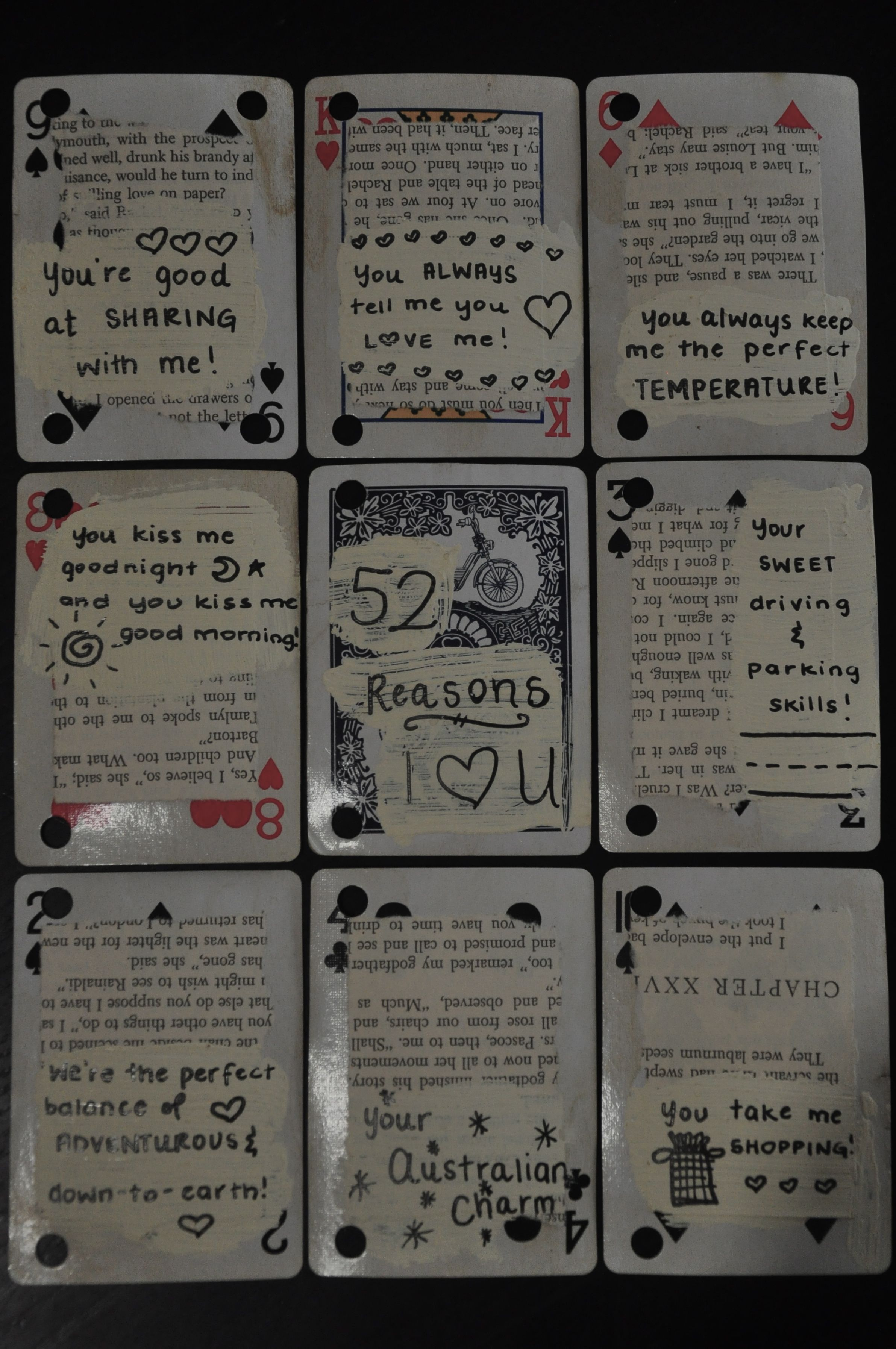 "Just a few of the ""52 Reasons I Love You"" that I made"