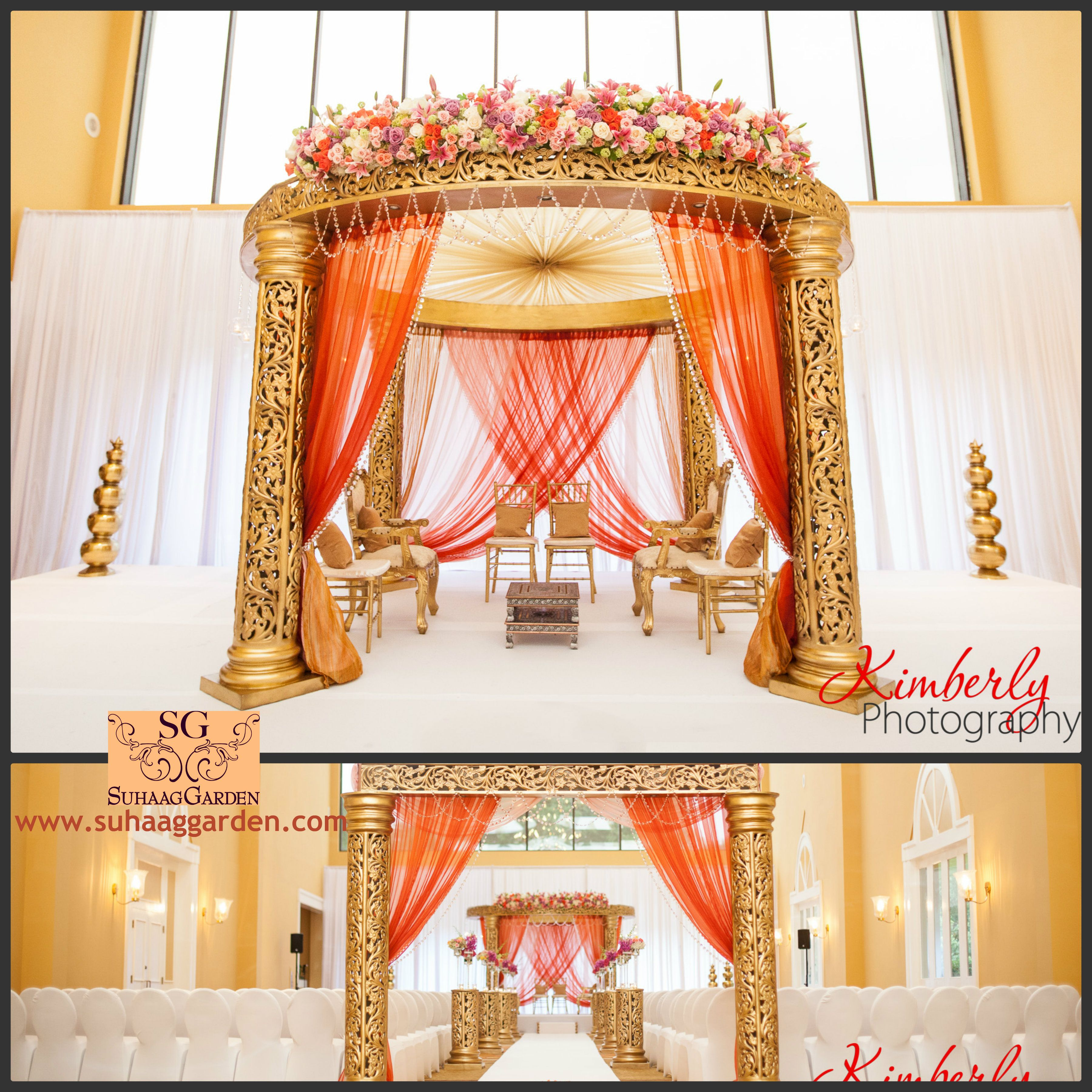 I Like This Gold Mandap But With A Little More Flowers