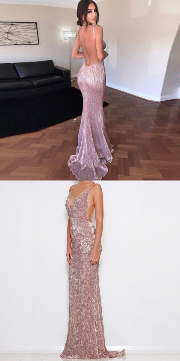 37413bd535 Sheath Backless Prom Dress - Sequined Spaghetti Straps Sweep Train ...