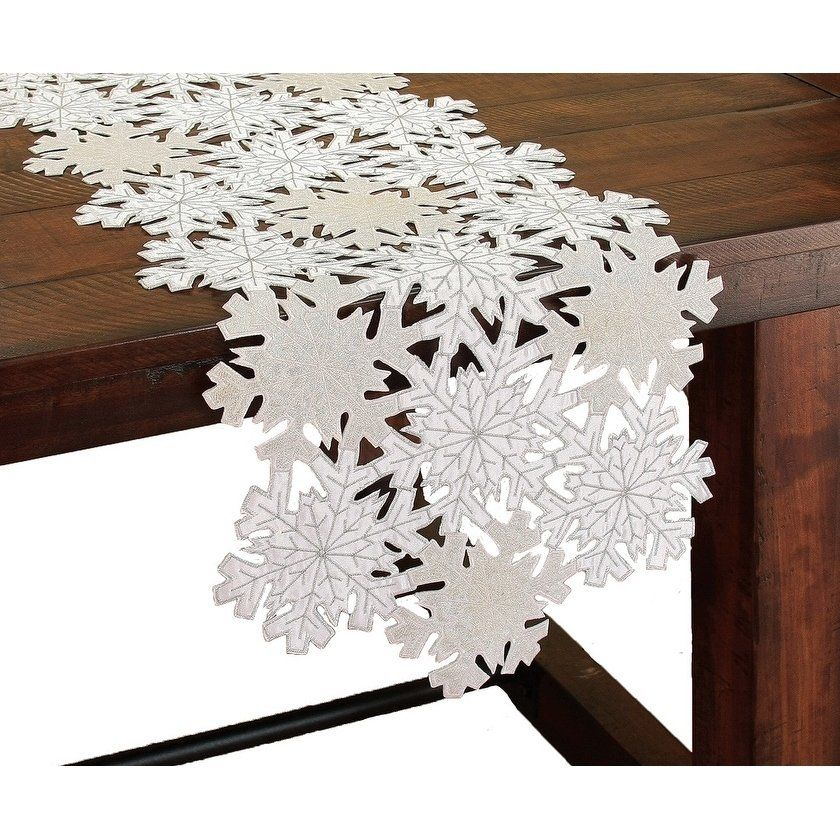 Shimmer Snowflake Embroidered Collection Cutwork Table