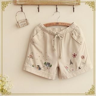 Buy 'Fairyland – Embroidered Drawstring Shorts' with Free International Shipping at YesStyle.com. Browse and shop for thousands of Asian fashion items from China and more!