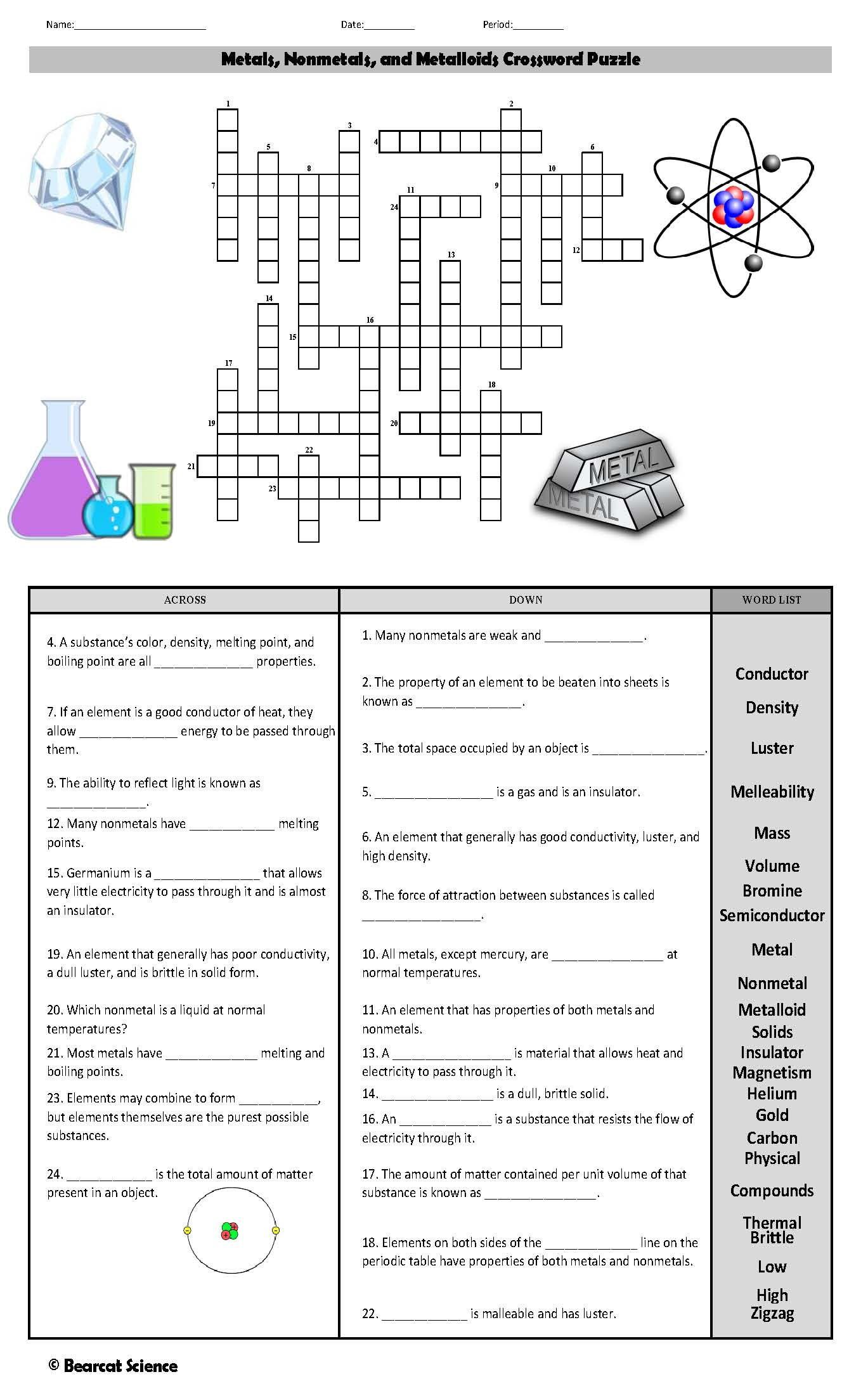 Metals Nonmetals And Metalloids Crossword Puzzle Crossword