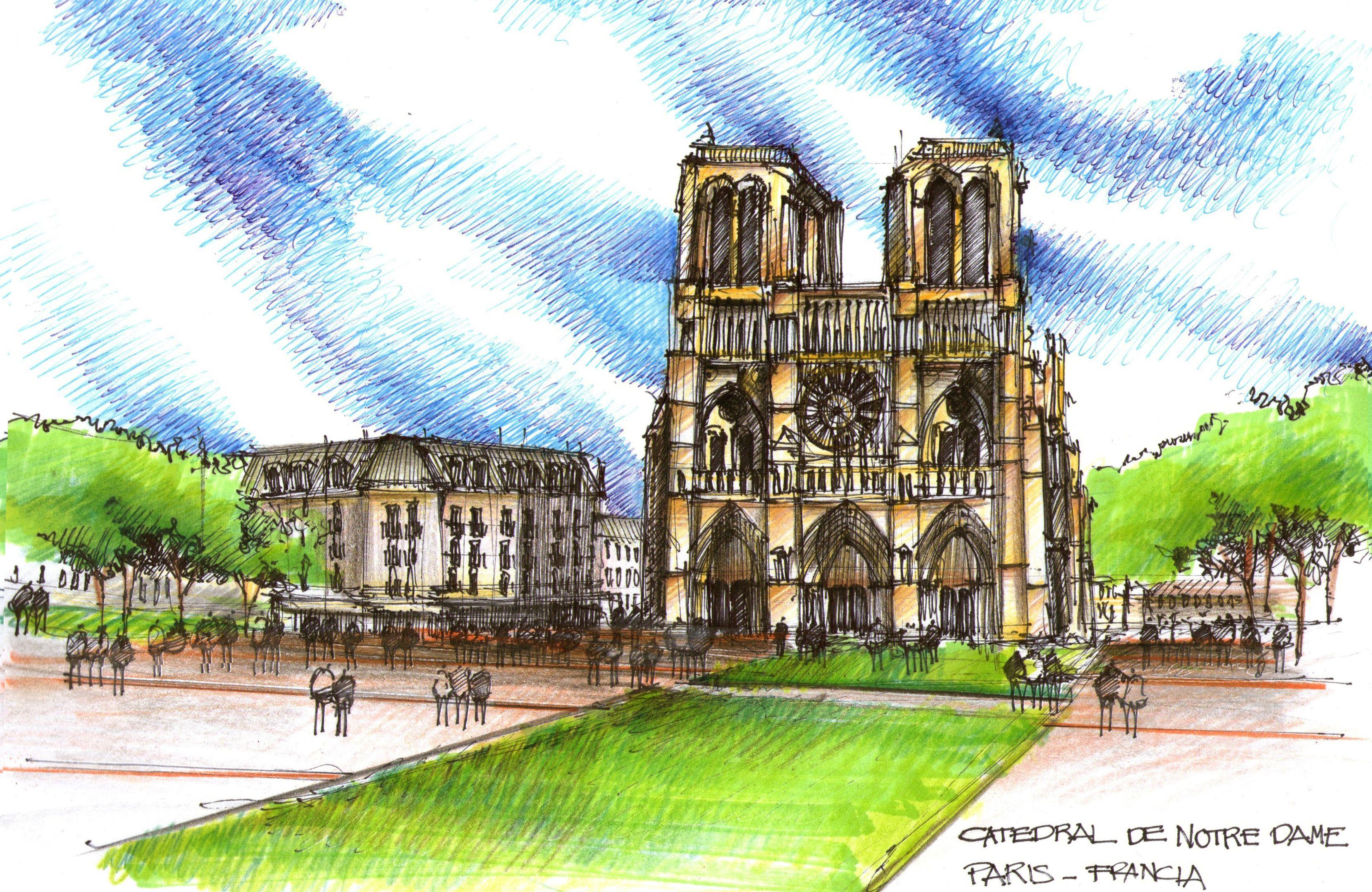 Catedral De Notre Dame Paris Dibujo A Mano Alzada Pinterest  # Muebles Sion Bogota