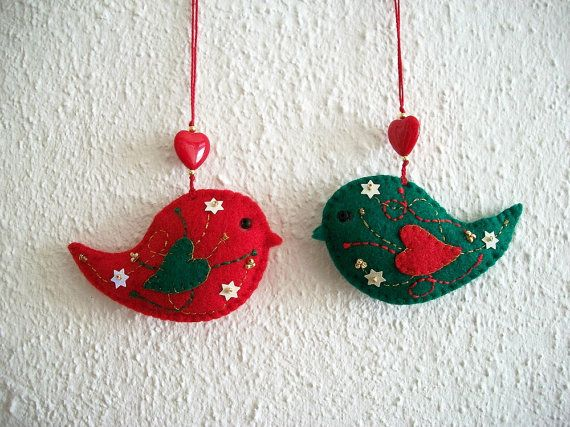 Bird Ornaments Holiday Red and Green Felt by HandcraftedorVintage, $25.00