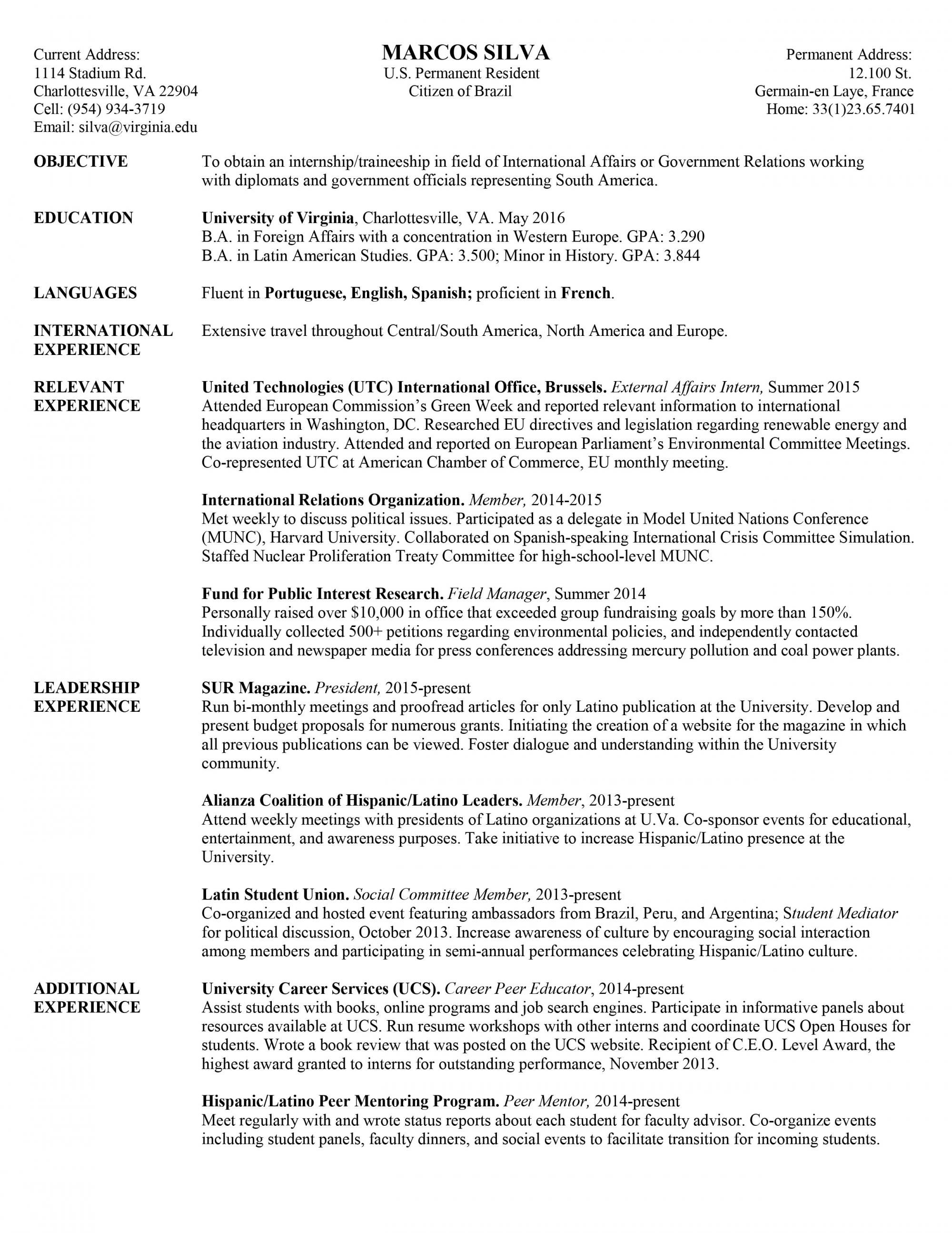 University Student 4 Resume Examples Sample Resume Resume