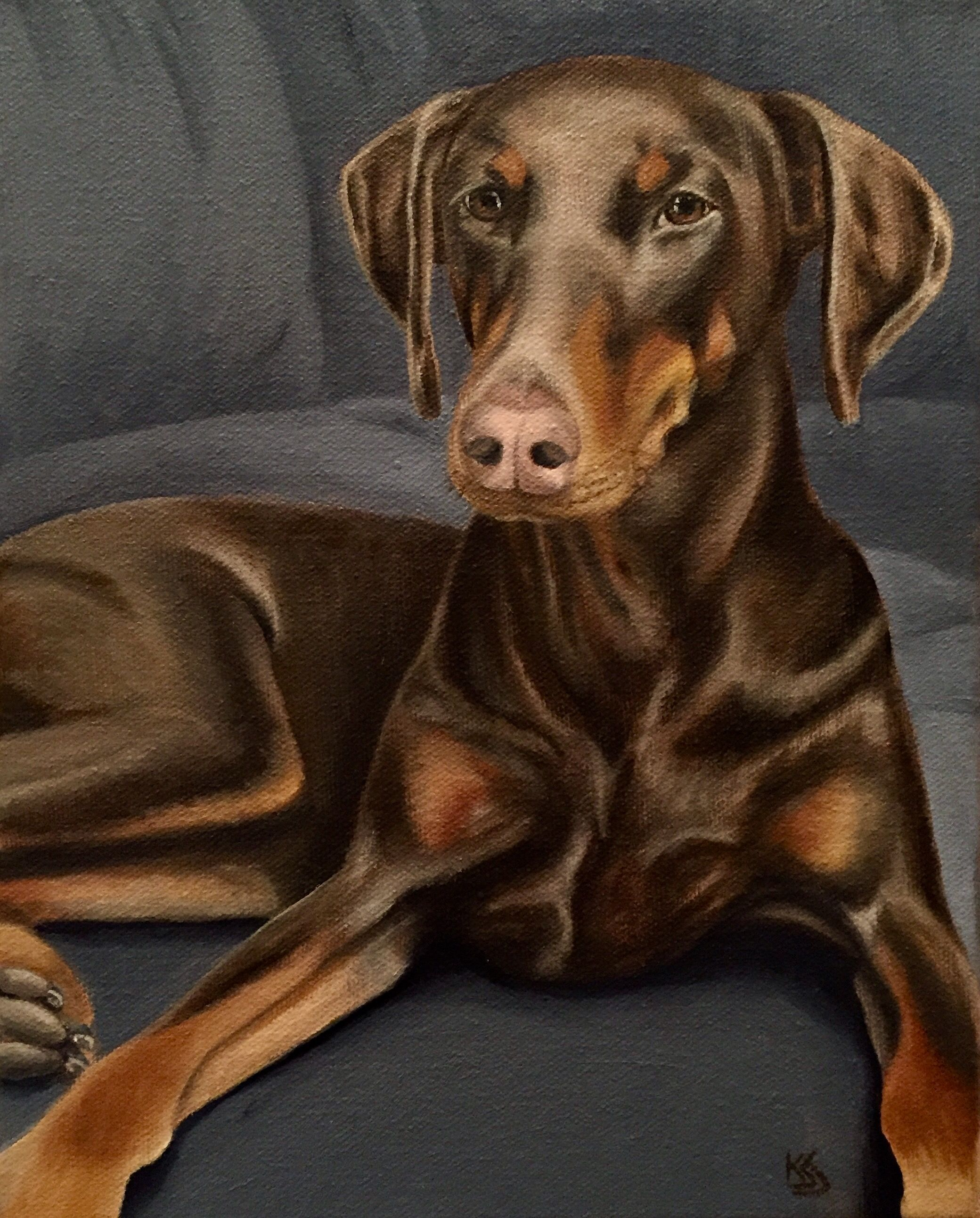 Oil Painting Donation For Illinois Doberman Rescue Fundraiser