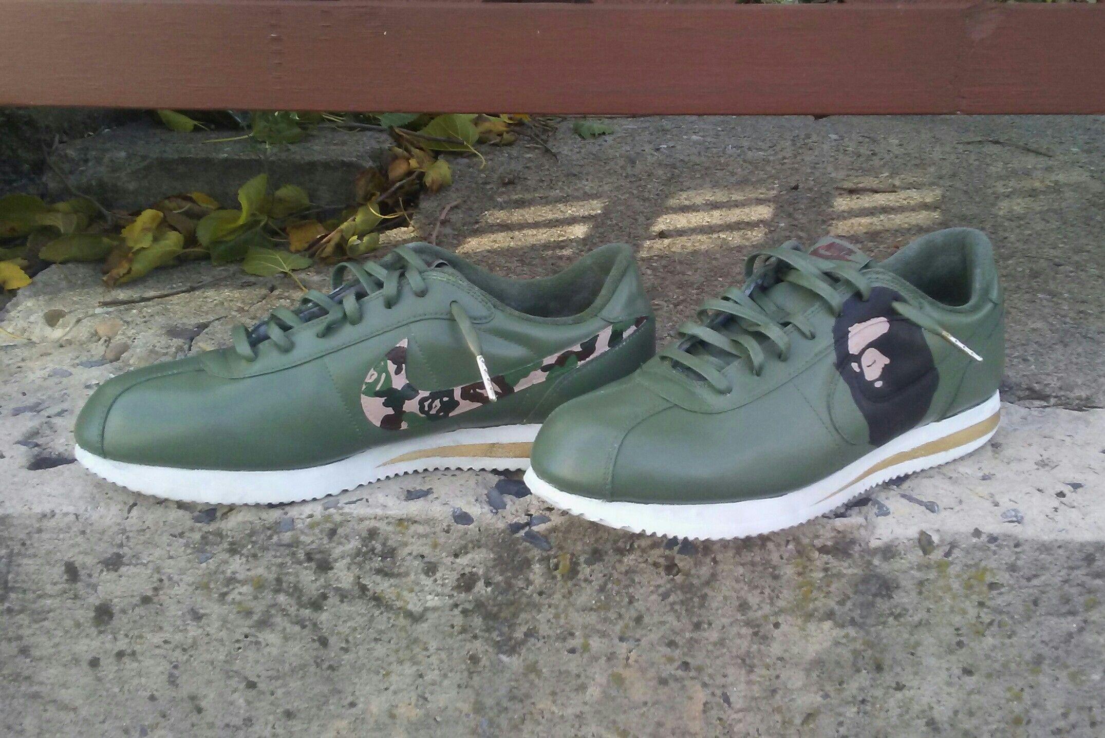 low priced a5a7b 2c43d Nike Cortez 'Bape' custom by @kyngred_kustomz on ig |