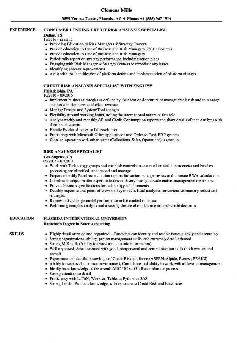 Free risk analysis specialist resume samples velvet jobs