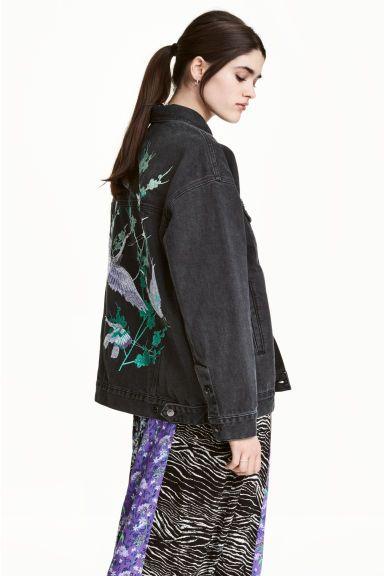veste en jean oversize h m oversized denim jacket. Black Bedroom Furniture Sets. Home Design Ideas