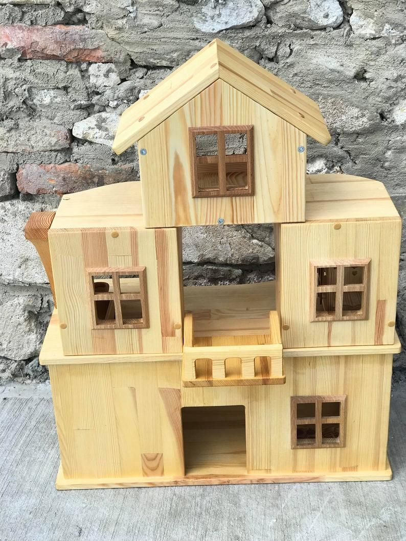 Wooden Dollhouse Stackable Three Story Dollhouse 1 16 Scale 3 4 Wooden Toy Eco Friendly Handmade Eco Toys Birthday Gift In 2020 Wooden Dollhouse Doll House Little Houses