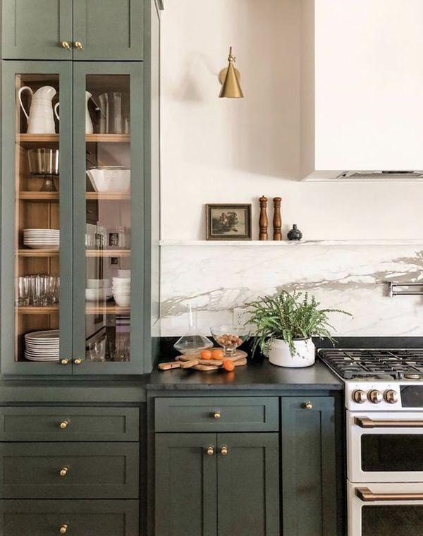 yay or nay moody green interiors paper and stitch green kitchen cabinets kitchen interior on kitchen interior green id=71495