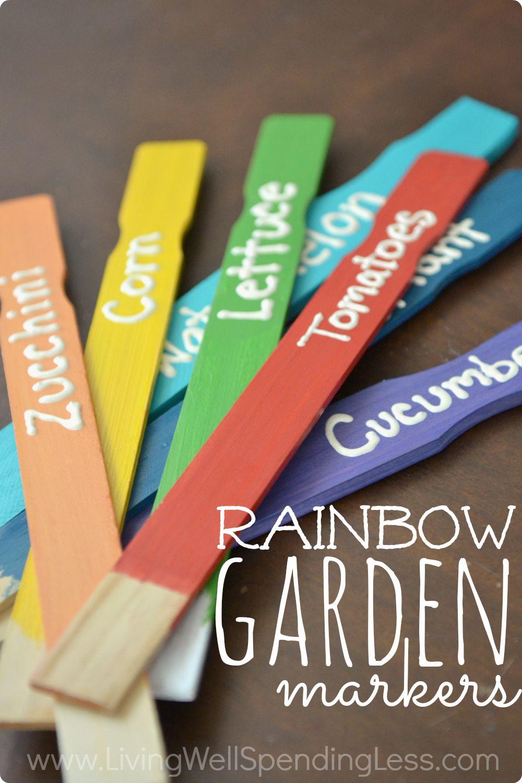 Diy Rainbow Garden Markers Gardening Pinterest Garden Markers
