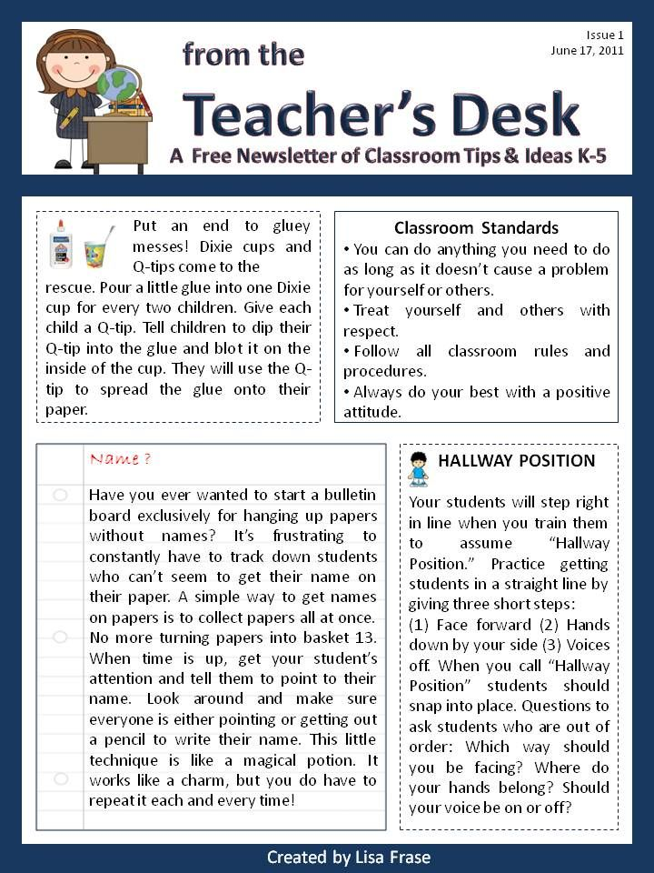 Classroom Newsletters  Free Newsletter On Tpt Titled From The