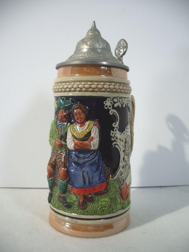 german beer stein auf der alm daistesschon lid vintage man woman drinking barware accessories