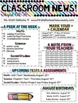 Classroom newsletter editable bright stripes social for Class newsletter ideas