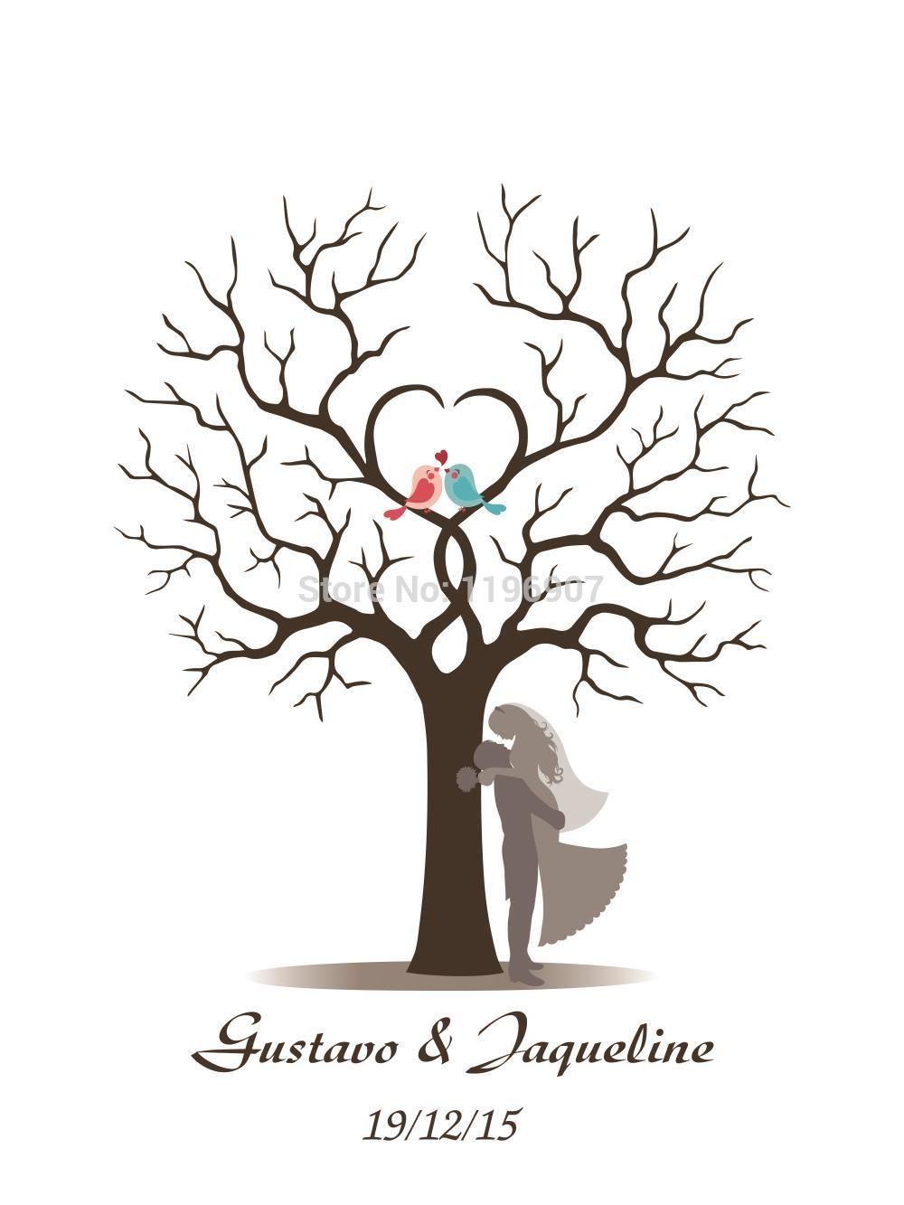 40x60CM Customized Wedding Fingerprint Tree Guestbook Alternative ...