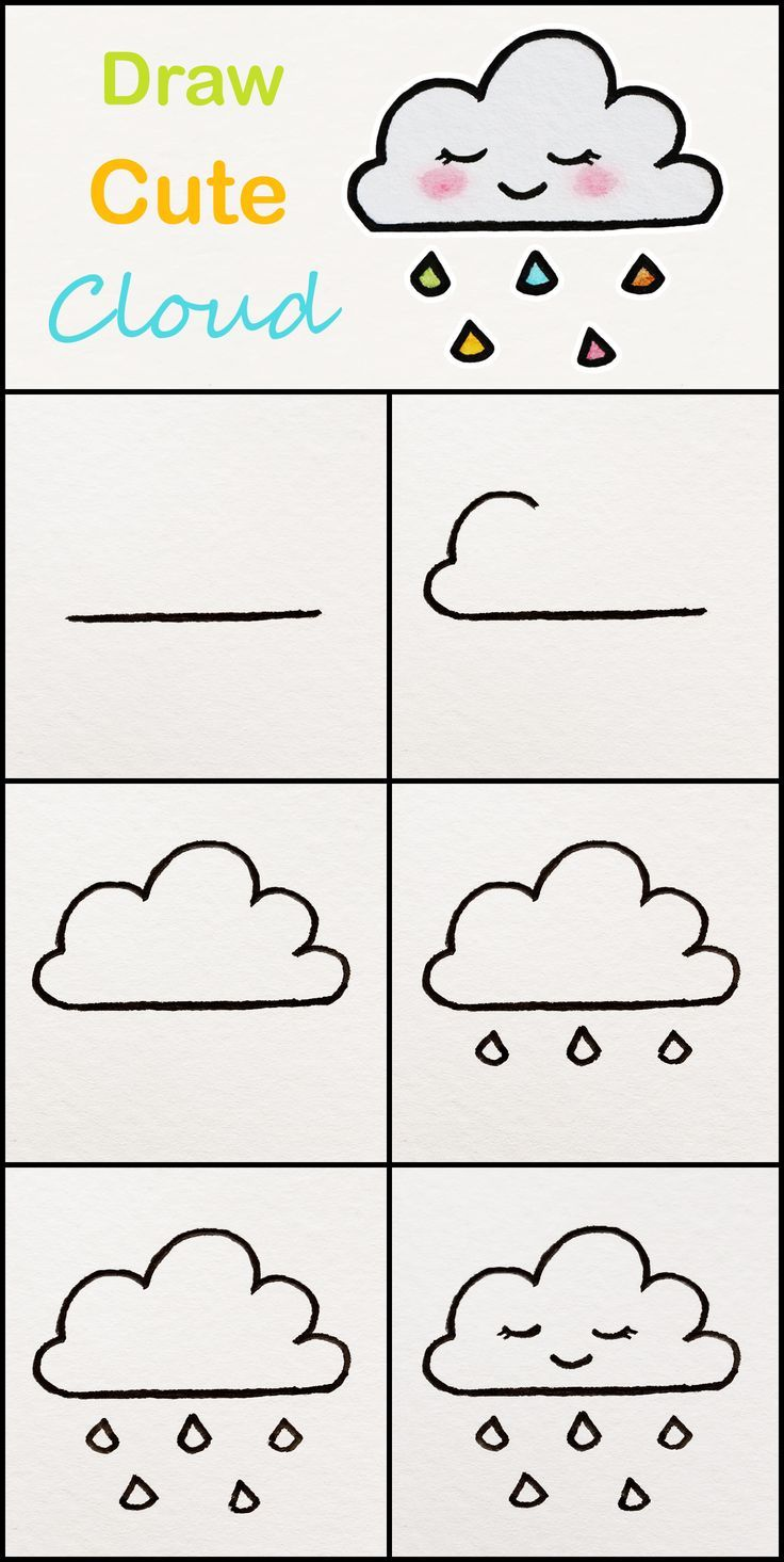 Learn how to draw a cute Cloud step by step ♥ very simple tutorial #cloud #dra... - Blog #pencildrawingtutorials