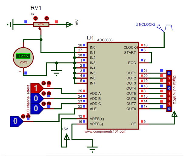 Adc0808 Example Circuit