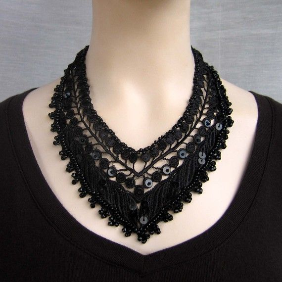 Gothic black beaded lace statement necklace