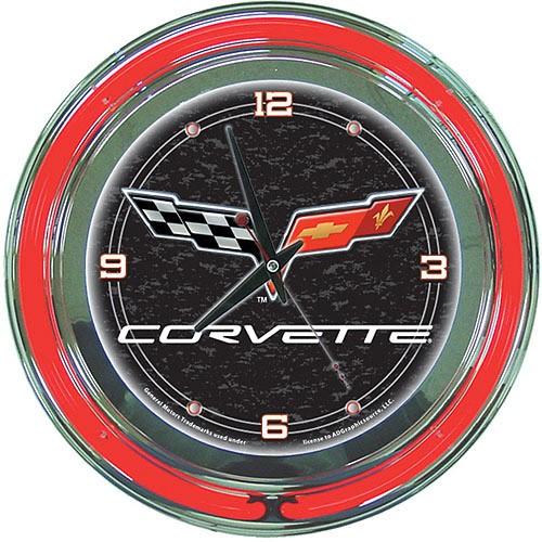 Corvette C6 14 Neon Wall Clock Black Multicolor Neon Clock Clock Corvette