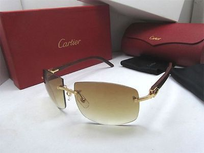 cartier c decor williamsburg golden finish wood sunglasses | deals