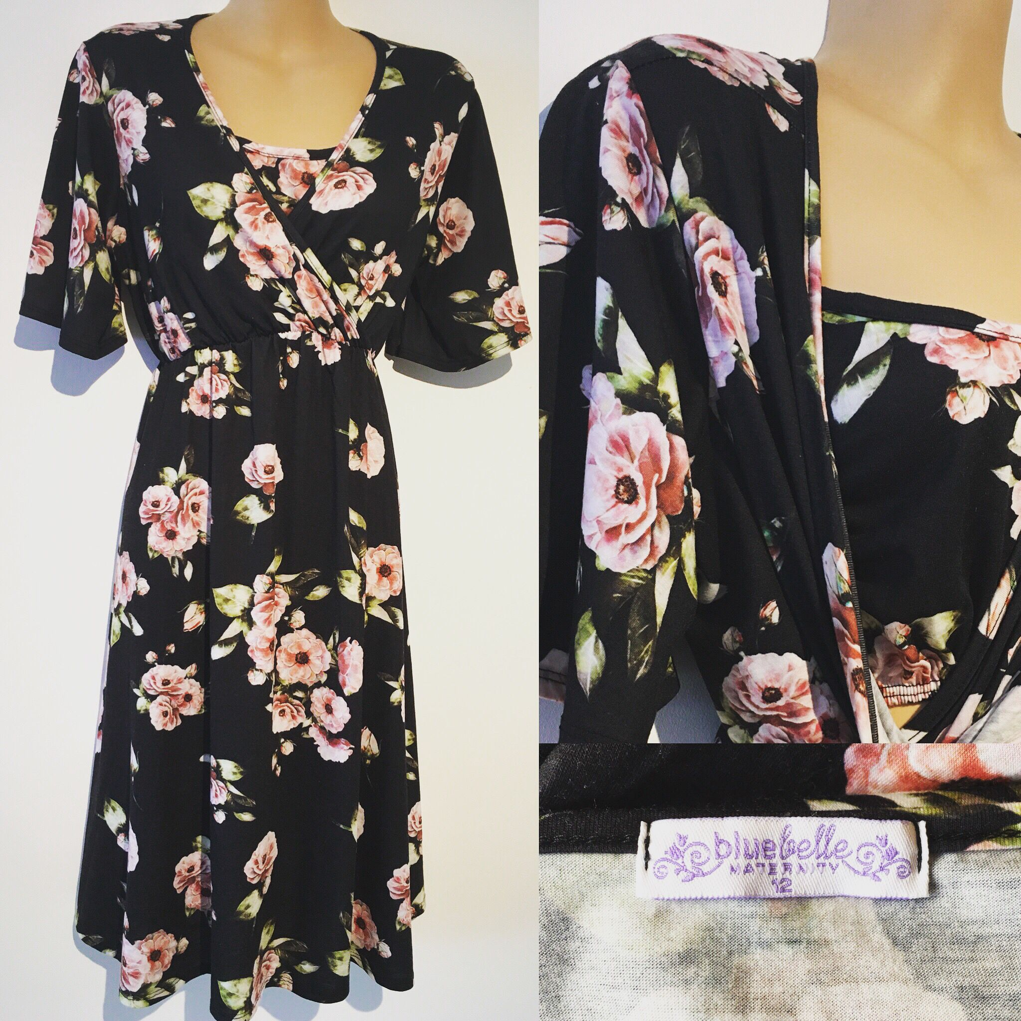 Black floral dress suitable for casual or occasion wear