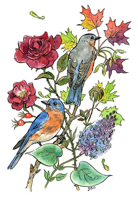 New York state symbols blue bird, flower rose, tree sugar