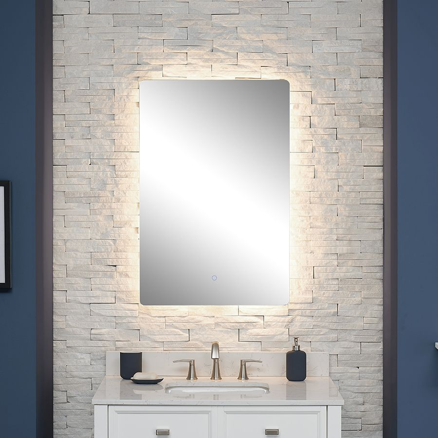 Scott Living Canterbury 24 In Chrome Rectangular Frameless Lighted Led Bathroom Mirror Lowes Com Led Mirror Bathroom Bathroom Mirror Bathroom Vanity Mirror