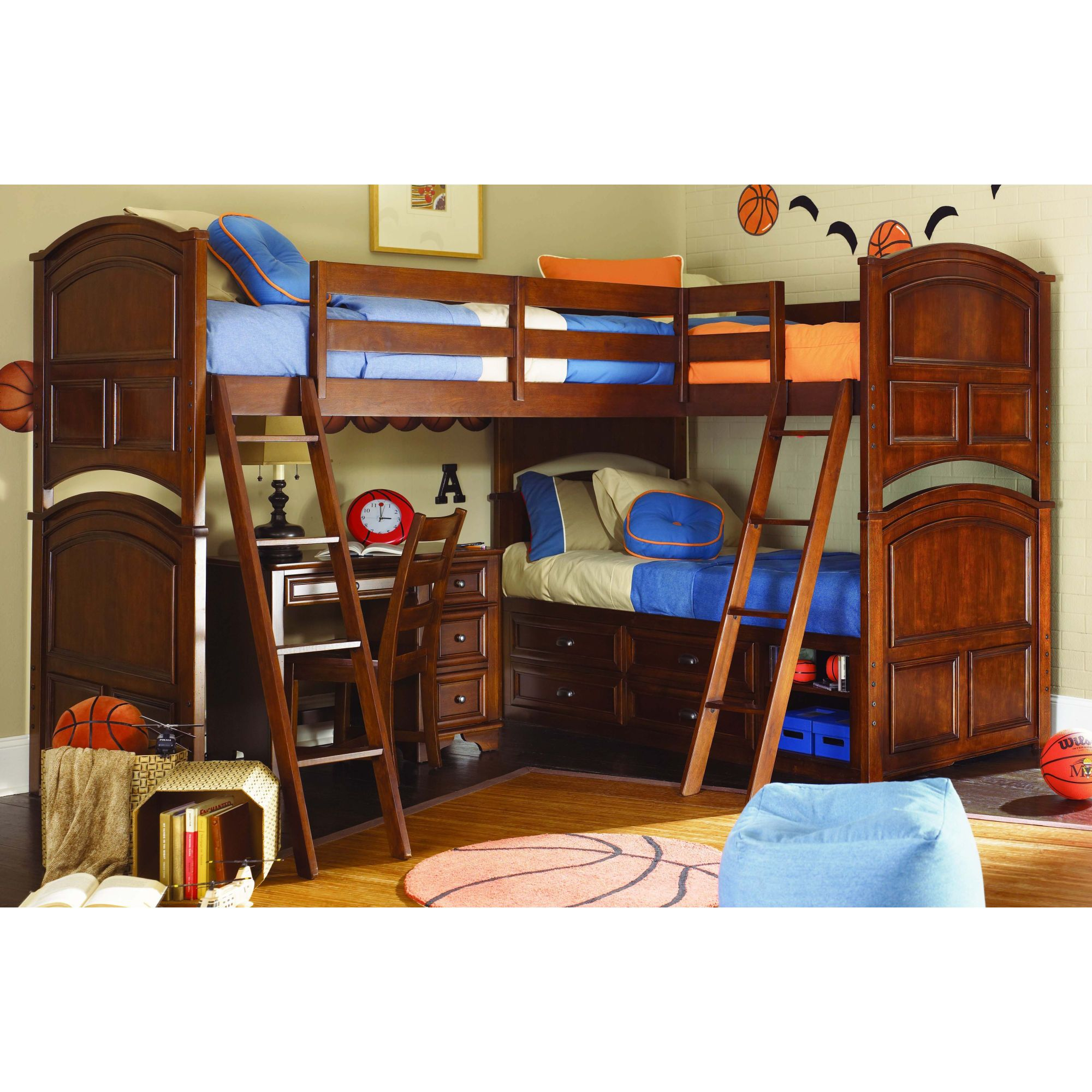 2887 50 Lea Deer Run Triple Twin Loft Bunk Bed With Desk
