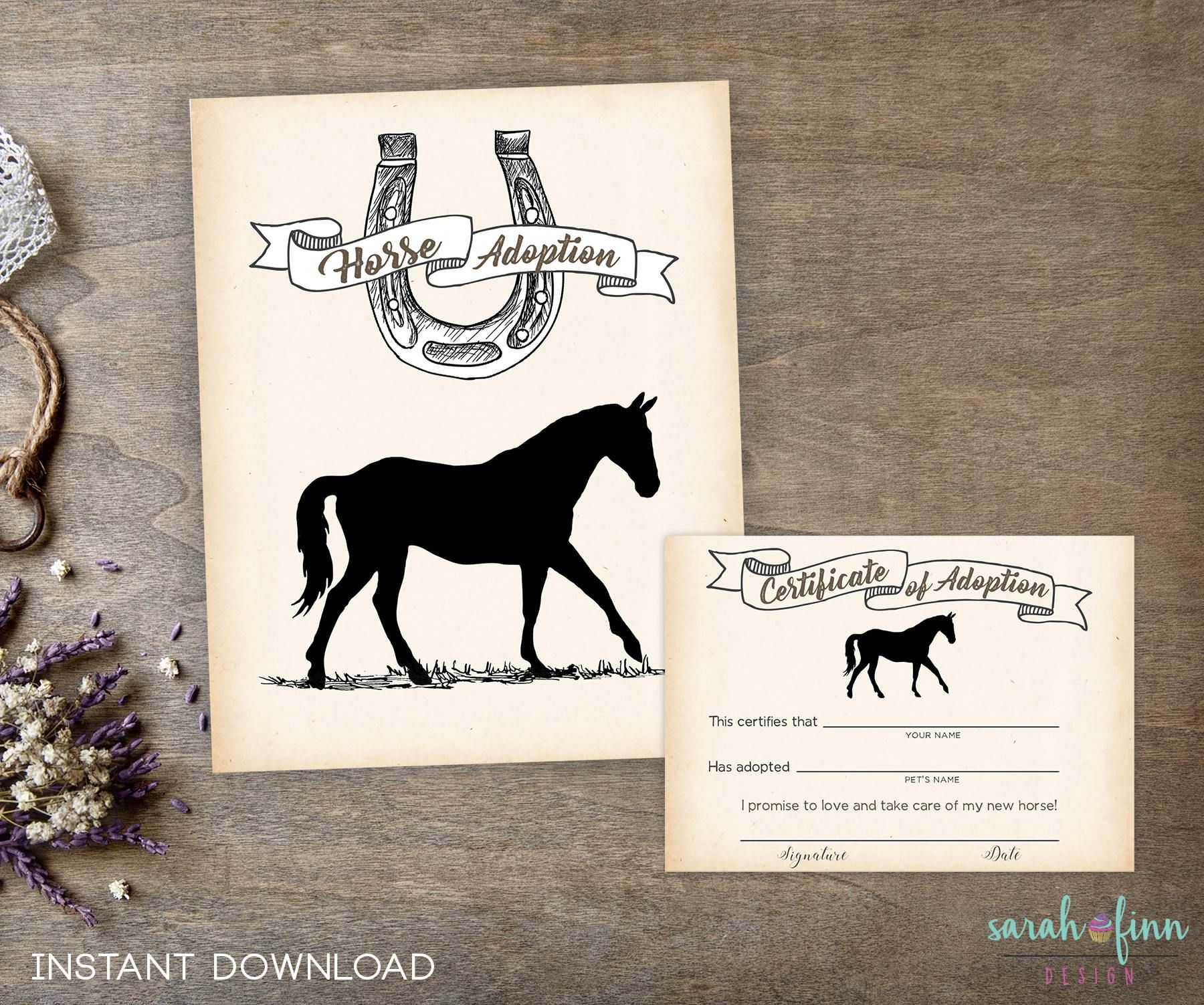 Adopt a Horse, Horse Party Printable Birthday Sign, Magical
