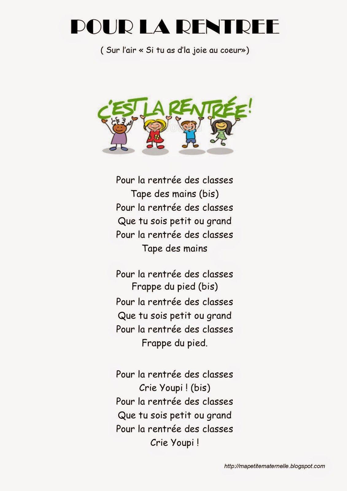 Très Ma petite maternelle: Comptine #23 - Pour la rentrée | Prof  YQ01