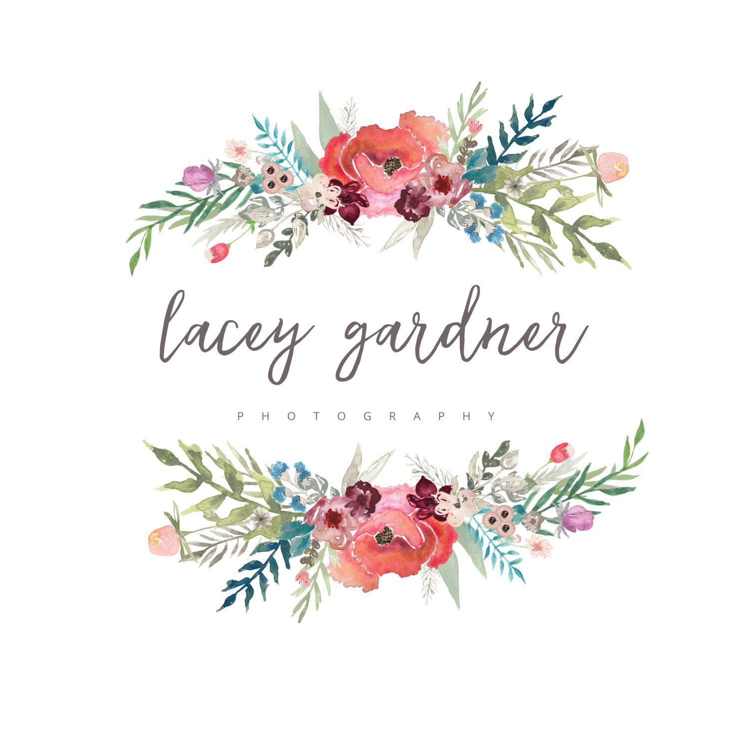 Premade Handprinted watercolor flower Logo Photography